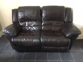 Dark brown 2 seater real leather recliner