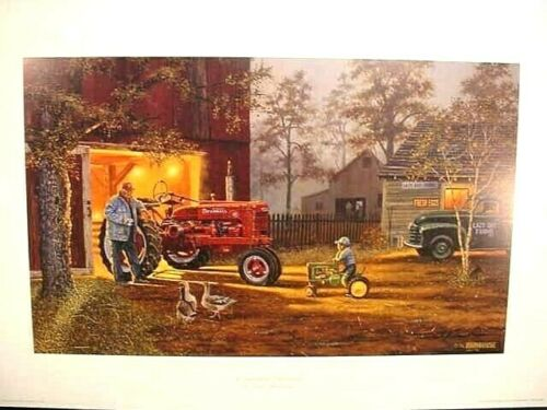 FARMALL H TRACTOR & DEERE PEDAL TRACTOR ART PRINT - COMMON GROUND by D BARNHOUSE