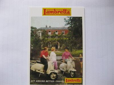 LAMBRETTA SCOOTERS 1960,S POSTCARD OF AN ORIGINAL ADVERT NEW
