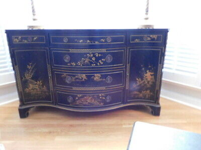 "Chinoiserie Chest Buffet Dresser 1940-1950 Hand Painted Vintage 58""Wide"