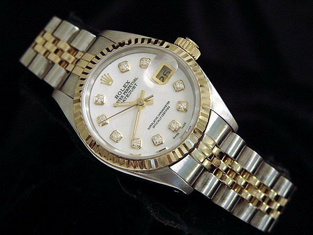 Rolex Datejust Ladies 18k Yellow Gold & Steel Watch White Mop Diamond Dial 69173