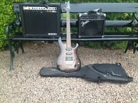 Guitar, cables, carry case, tuner Fender Amp, Zoomer Am