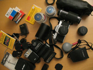 Pentax K1000 SLR Camera, Lenses, Flashes and Accessories