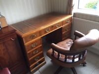 Reproduction Pedestal Desk and Captains Chair for sale