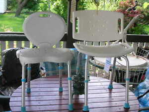 2 ALMOST NEW AQUASENSE ADJUSTABLE BATH OR SHOWER CHAIRS FOR SALE