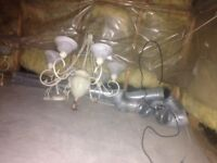 2 Wrought Iron Antique Chandeliers Limoges Glass