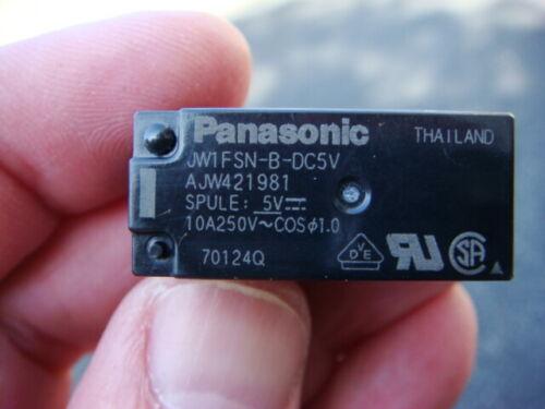 LOT 5 PANASONIC JW1FSN-B-DC5V RELAYS - SPDT 5VDC 10A - New and Unused