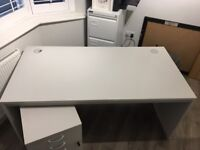 Modern Desk and Pedestal - White, High quality and suitable for home or office