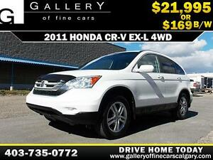 2011 Honda CR-V EX-L 4WD w/Sunroof $169 bi-weekly APPLY NOW