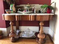 beautiful unusual sideboard with marble top