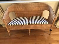 2 seater rattan bench and chair