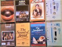 HOT CHOCOLATE, ABBA, JETHRO TULL, CARPENTERS, BREAD, SANTANA, SANDPIPERS PRERECORDED CASSETTE TAPES.
