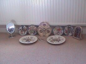 A SELECTION OF WALLPLATES AND TWO TABLE TOP MIRRORS