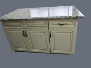 Kitchen island, solid wood cabints, granite counter top