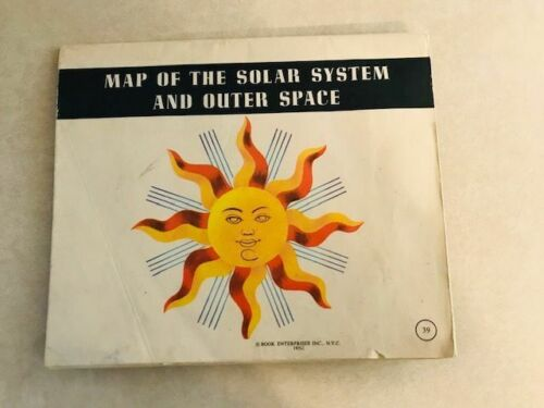 Map of the Solar System & Outer Space, Vintage, book enterprise 35X48-1955
