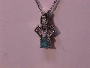 #1317-STUNNING 10K-18K WHITE Gold DIAMOND*EMERALD NECKLACE-APPRAISED $1,950.00 SELL