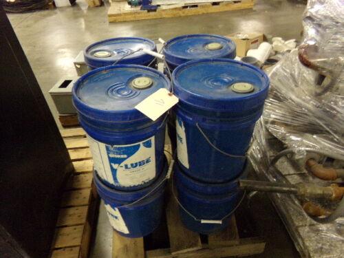 Lot of (8) 5 Gallon Buckets Stokes V-Lube Mechanical Vacuum Pump Oil Grade H