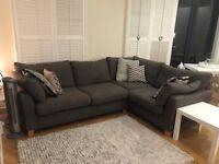 Grey corner sofa - Next, Harris tweed (grey), L-shape, RRP £1400, great condition