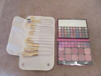 Brand new 16 brush makeup roll & make up selection pallet for eyes/lips/cheeks all in orginal seals