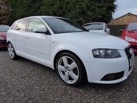 Audi A3 2.0 T FSI S Line DSG Sportback ....Beautiful in White, with Full Leather & Paddle Shift