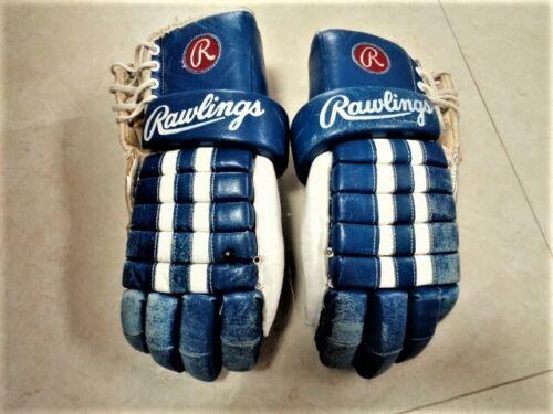 RAWLINGS Vintage 80s Pro Flex Hockey Gloves  Blue White Toronto Maple Leafs 15.5