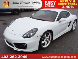 2014 PORSCHE CAYMAN S WHITE ON RED ONLY 6786KM!!! NAVI