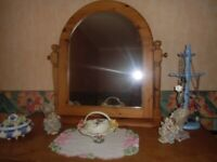 large pine vanity/dressing table mirror
