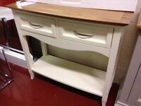 New cream & oak bow fronted hall console table