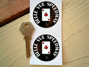 BELLE-VUE-SPEEDWAY-Stickers-50mm-Pair-Aces-Manchester-British-League-Classic