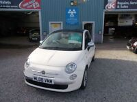 FIAT 500 1.2 LOUNGE 3d 69 BHP panoramic roof (white) 2008