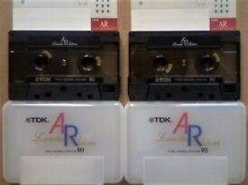 JL 2x TDK AR 90 LIMITED EDITION PREMIUM QUALITY AUDIOPHILE CASSETTE TAPES. 1988 WHITE CASE ISSUE