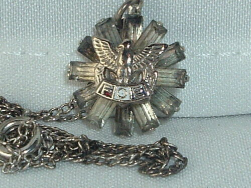 VINTAGE FRATERNAL ORDER OF THE EAGLES FOE RHINESTONE PENDANT NECKLACE CHAIN