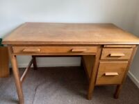 Ercol Wooden desk with 3 drawers