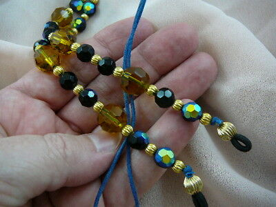 #E-287)  Amber black glass bead Eyeglass leash holder chain Wow