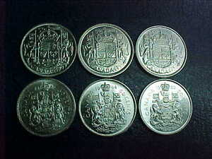 Six Queen Elizabeth Silver Halves 1953-1955-1957-1961-1964-1966!