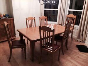 beautiful antique dining room table and chairs
