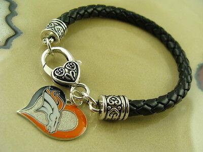 Leather Denver Broncos Bracelets - DENVER BRONCOS AMINCO charm on Black braided leather silver bracelet