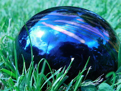 "IRIDESCENT BLUE ART GLASS PAPERWEIGHT 4 1/2"" DIAMETER ARTIST SIGNED"