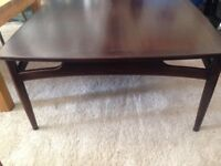 Square dark wood table in Ercol style