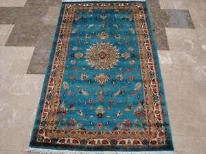 SEA BLUE FLORAL ORIENTAL HAND KNOTTED RUG CARPET 5X3 FB-2855