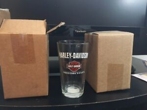 Harley Davidson beer glasses and hanging glass art