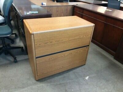 2 Drawer Lateral Size File Cabinet By Hon Office Furn In Oak Laminate
