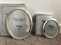 2 x Silver Oval Photo Frames 5 x 7 & 8 x 10 inches (BRAND NEW IN BOX) unwanted gift