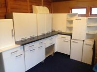 Second hand used kitchen units worktops & white collar units with shelves