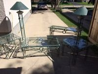 Glass and Iron Table/Lamp Set