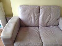 Leather sofa + Footstool - Colour Beige