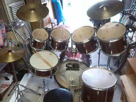 7 piece drum kit with hardware symbols & sticks