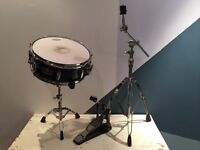 MAPEX PRO-M SERIES SNARE DRUM, SNARE STAND, RIDE STAND AND BASS DRUM PEDAL