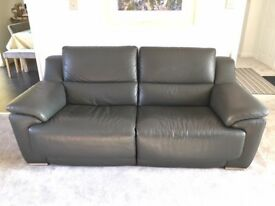 Dark Grey 'Fairford' 3 seater leather reclining sofa and 2 electric reclining arm chairs