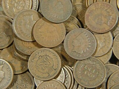 1800's-1900's Indian Head Penny Cent Roll of 50 Coins From Lot Full Dates Only